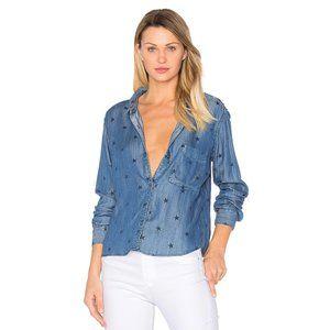 Rails Dana Star Print Chambray Button Up Shirt   M